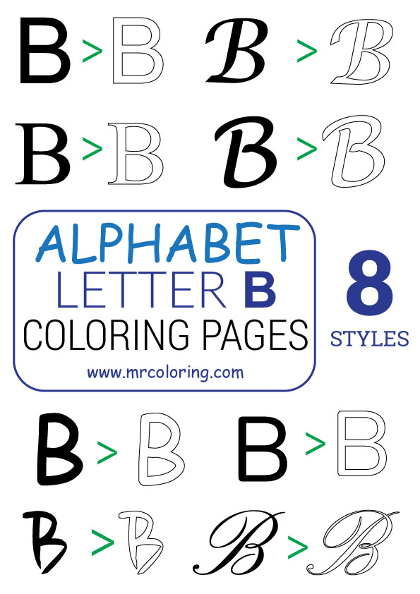 Alphabet letter B coloring pages Uppercase or Capital for kids