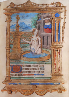 manuscript illuminated page showing Kin David watching Bathsheba bathe