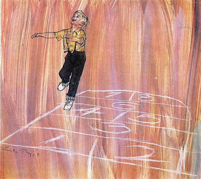 an Austin Briggs illustration of a happy boy playing hopscotch