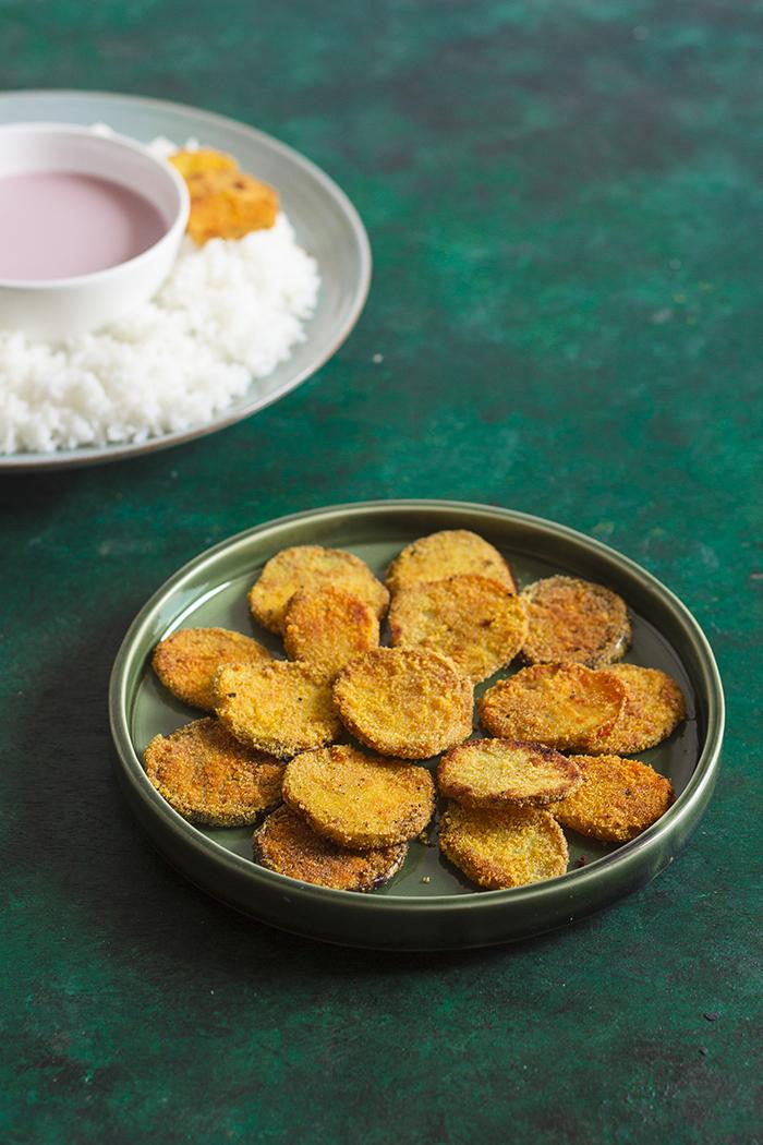 potato rava fry, potato semolina fry, batatachya kapa, vangi kaap, vangi kapa, batata phodi, vangi podi