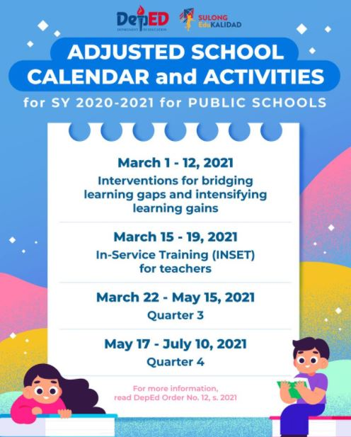 Updated calendar for SY 2020-2021. Photo from DepEd