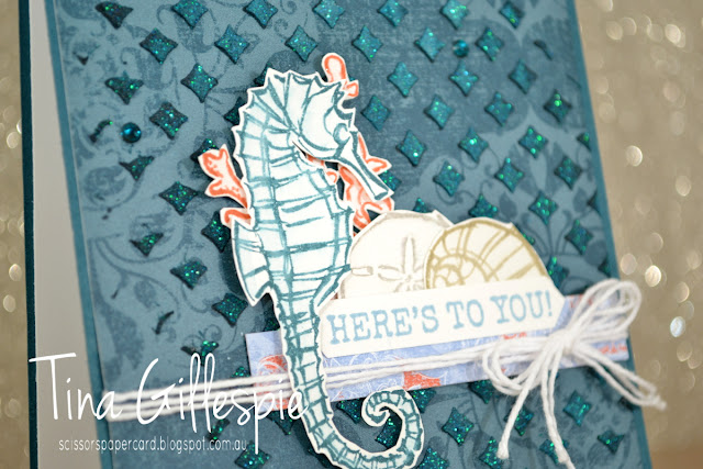 scissorspapercard, Stampin' Up!, Art With Heart, Blog Hop, Seaside Notions, Woven Threads DSP, Shimmery Embossing Paste, Party Pattern Masks
