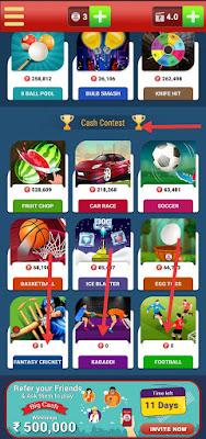 Fantasy cricket in BigCash app