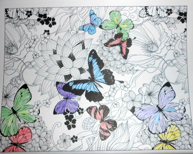 Colouring butterflies - Pretty butterflies were perfect to try out the new metallic & watercolour shades of colouring pencils.
