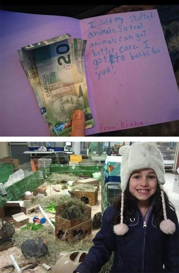 Girl sells her stuffed animals and donates the money to a local animal shelter.
