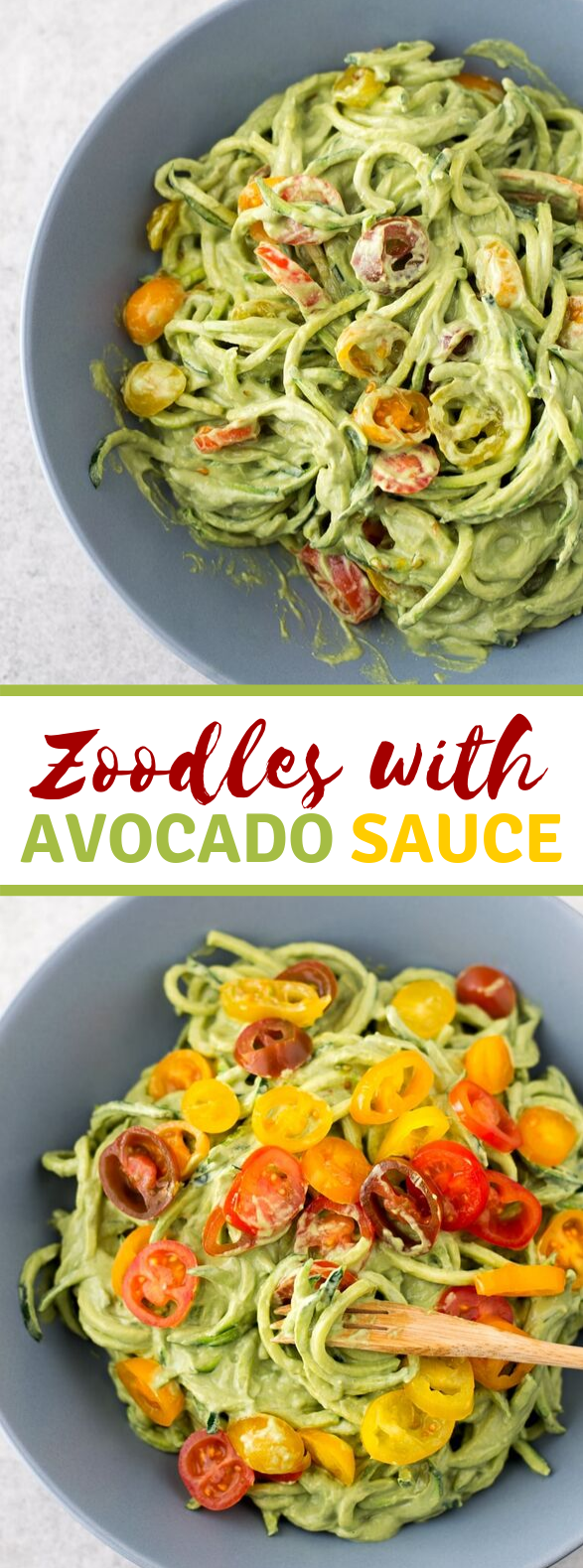 Zucchini Noodles with Avocado Sauce #lowcarb #paleo
