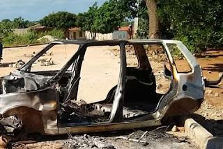 Bandidos atiram contra vigilantes e tocam fogo em carro na Paraíba