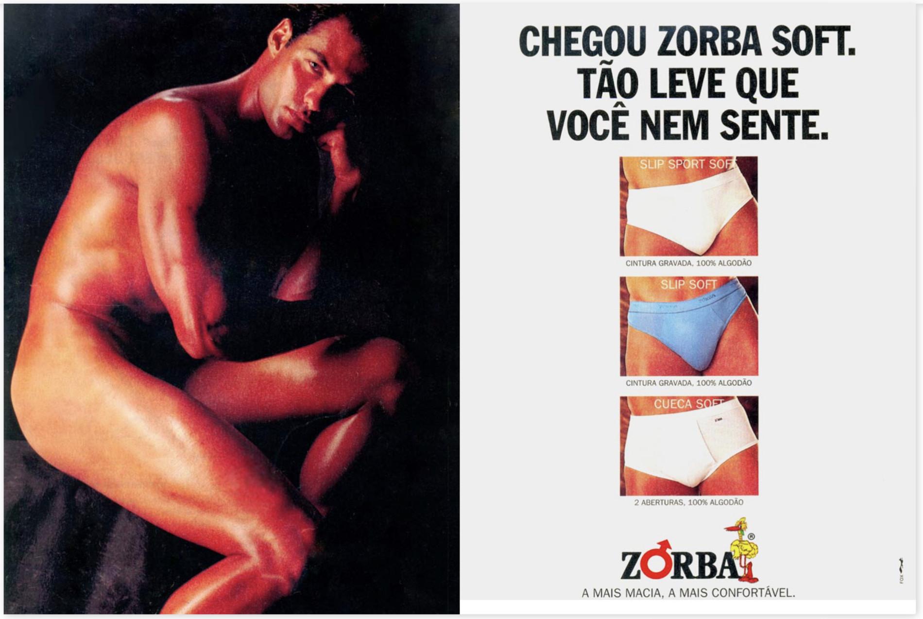 Anúncio da Zorba em 1993 promovendo sua linha de cuecas Soft