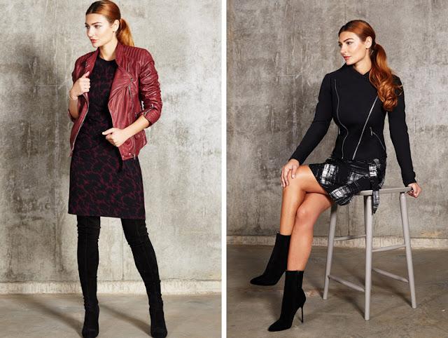 Девушка в бордовой и черной косухе и платье