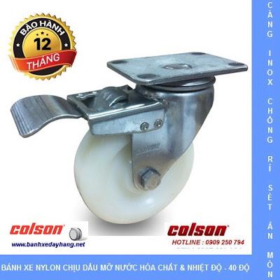 Bánh xe đẩy càng inox 304, bánh xe Nylon tải từ 100kg đến 136kg/bánh www.banhxedayhang.net