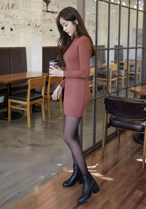 Corrugated Mini Sheath Dress