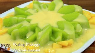 Puding Mangga Berkuah Kastard | Mango pudding Custard cream