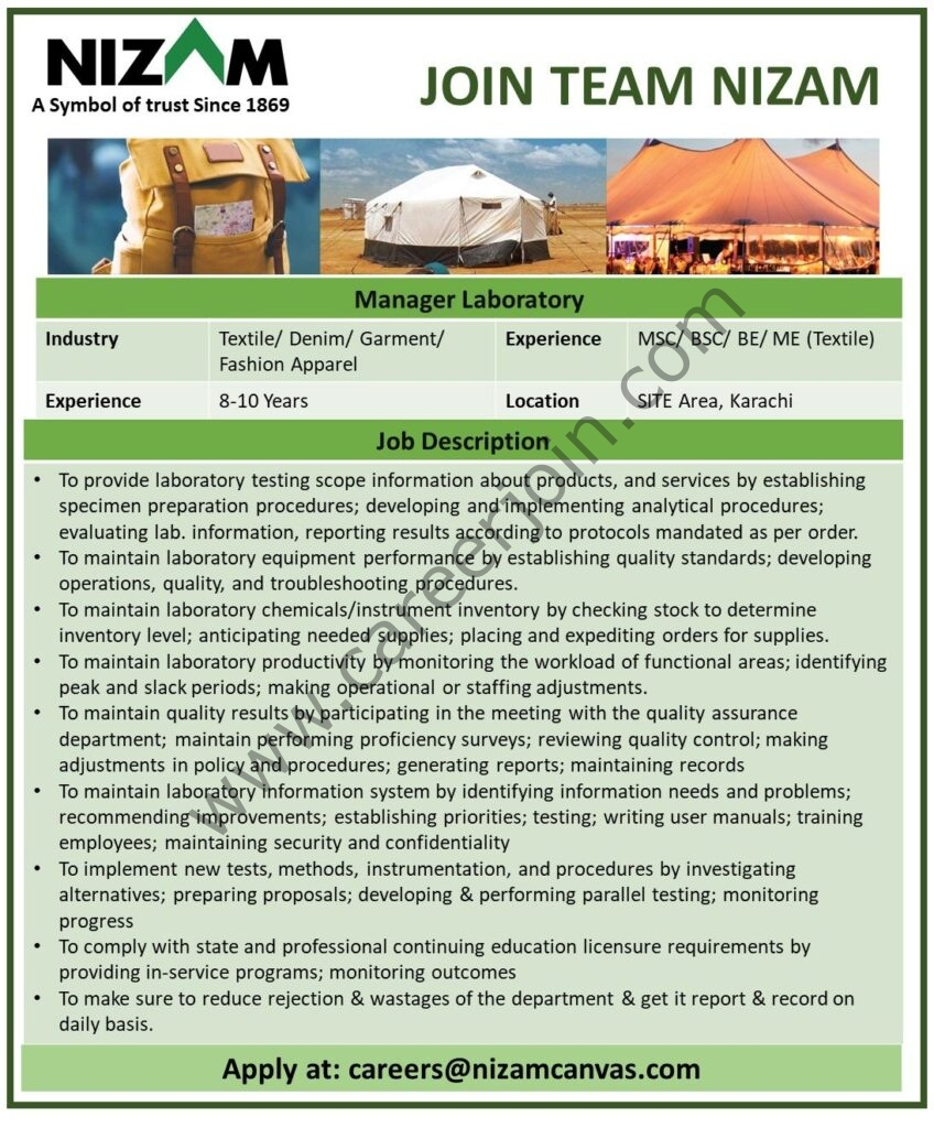 H Nizam Din & Sons Pvt Ltd Jobs 2021 in Pakistan For Manager Laboratory - Apply via careers@nizamcanvas.com