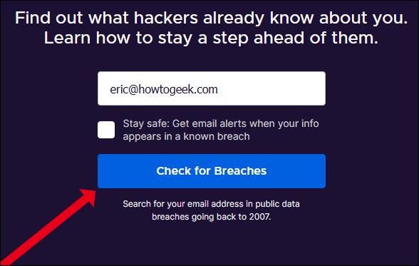 إدخال عنوان بريد إلكتروني لفحص Firefox Monitor