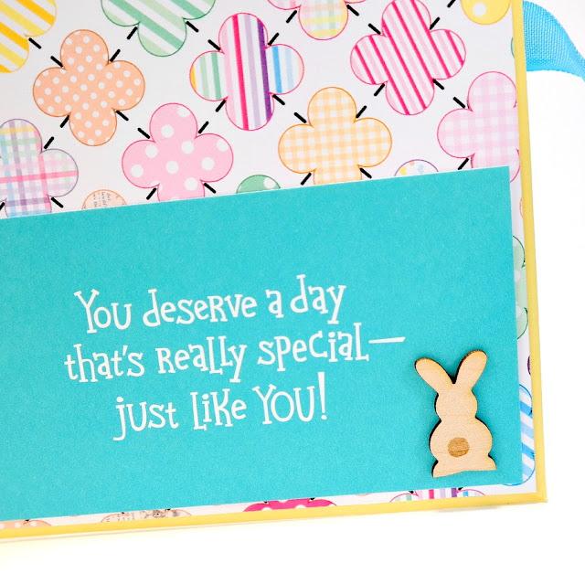 Happy Easter Greeting Card Mini Album Sentiment Pocket with Wood Veneer Bunny 2