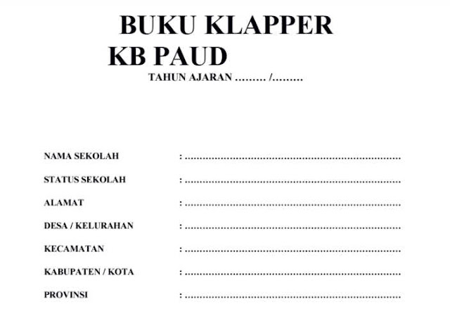 Download Buku Klapper Siswa PAUD TK KB