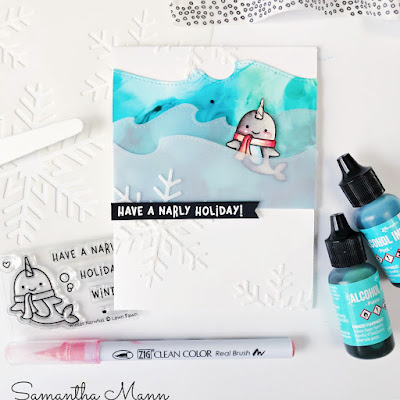 Narly Holiday Card by Samantha Mann, Get Cracking On Christmas Cards, Card Making, Lawn Fawn, Christmas, Christmas Cards, Alcohol Inks, Die Cutting, #lawnfawn #getcrackingonchristmas #christmascards #cardmaking #alcoholinks