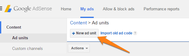 new ad unit tab