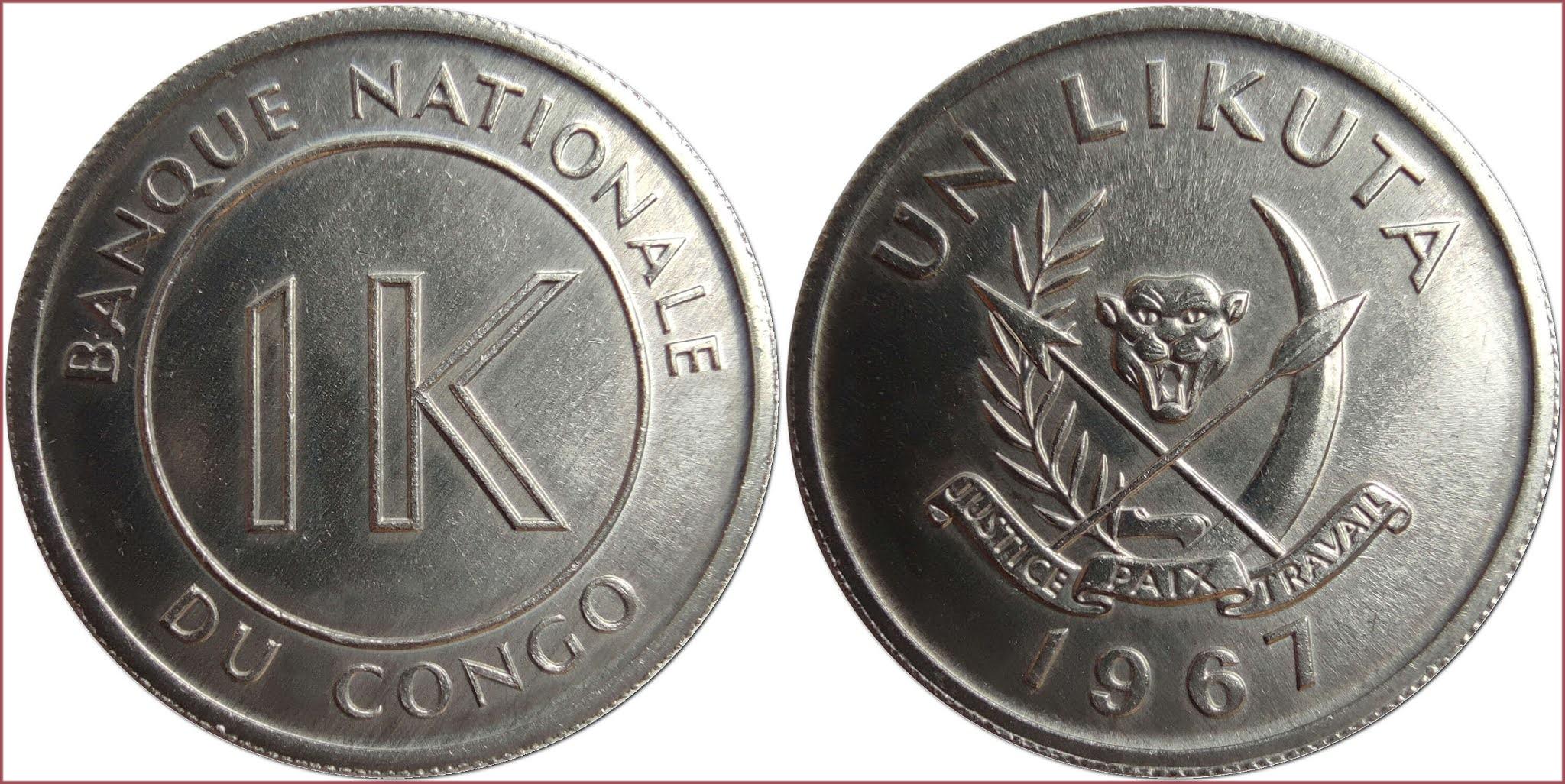 1 likuta (plural: makuta), 1967: Democratic Republic of the Congo (DRC)