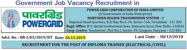 Power Grid Diploma Trainee Recruitment 2019