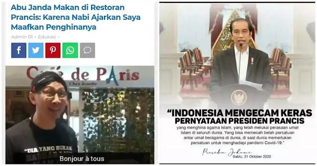 """Abu Janda baru saja """"acting"""" di Cafe Paris makan-makan sambil menyalahkan umat Islam bahkan dunia yang marah atas penghinaan Nabi Muhammad SAW melalui karikatur Charli Hebdo. Janda sok manusiawi menyatakan umat Islam harus memaafkan penghina Nabi. Ini ajaran Nabi, katanya asbun. Tidak lama kemudian Presiden Jokowi bersama pemuka agama menyatakan kecaman kepada Pemerintah Prancis atas karikatur penistaan Nabi Muhammad SAW itu. Abu Janda penjilat dan penggoreng umat kena skak mat oleh pernyataan tersebut. Terbayang wajah ruwetnya. Blepotan."""