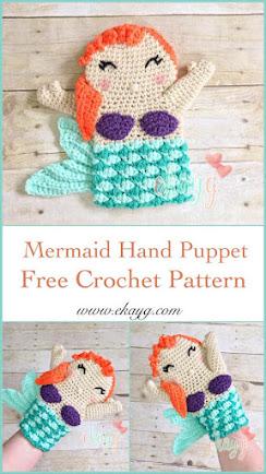 free mermaid hand puppet crochet pattern