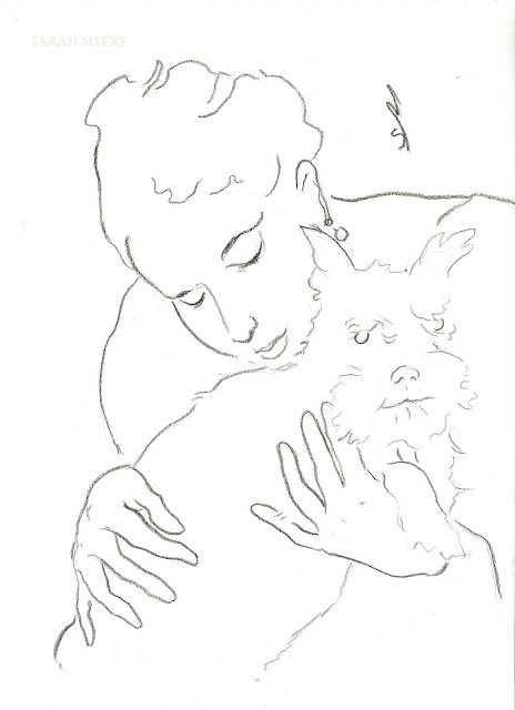 line, line-drawing, art, drawing, sarah, myers, dog, animal, lady, woman, sketch, study, arte, dibujo, kunst, dessin, head, face, schnauzer, hands, eyes, simple, minimal, minimalist, minimalism, artist, portrait, simplicity, modern, contemporary, artwork, kunstwerk, charcoal, paper, black, white, style, pet