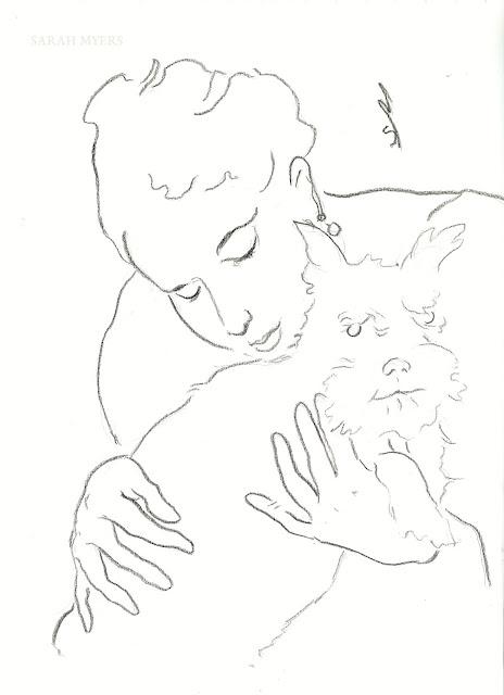 line, line-drawing, art, drawing, sarah, myers, dog, animal, lady, woman, sketch, study, arte, dibujo, kunst, dessin, head, face, schnauzer, hands, eyes, simple, minimal, minimalist, minimalism, artist, portrait, simplicity, modern, contemporary, artwork, kunstwerk, charcoal, paper, black, white, style, pet