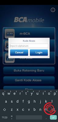 1. Langkah pertama silakan kalian login ke aplikasi BCA Mobile dengan menginput kode akses/alphanum