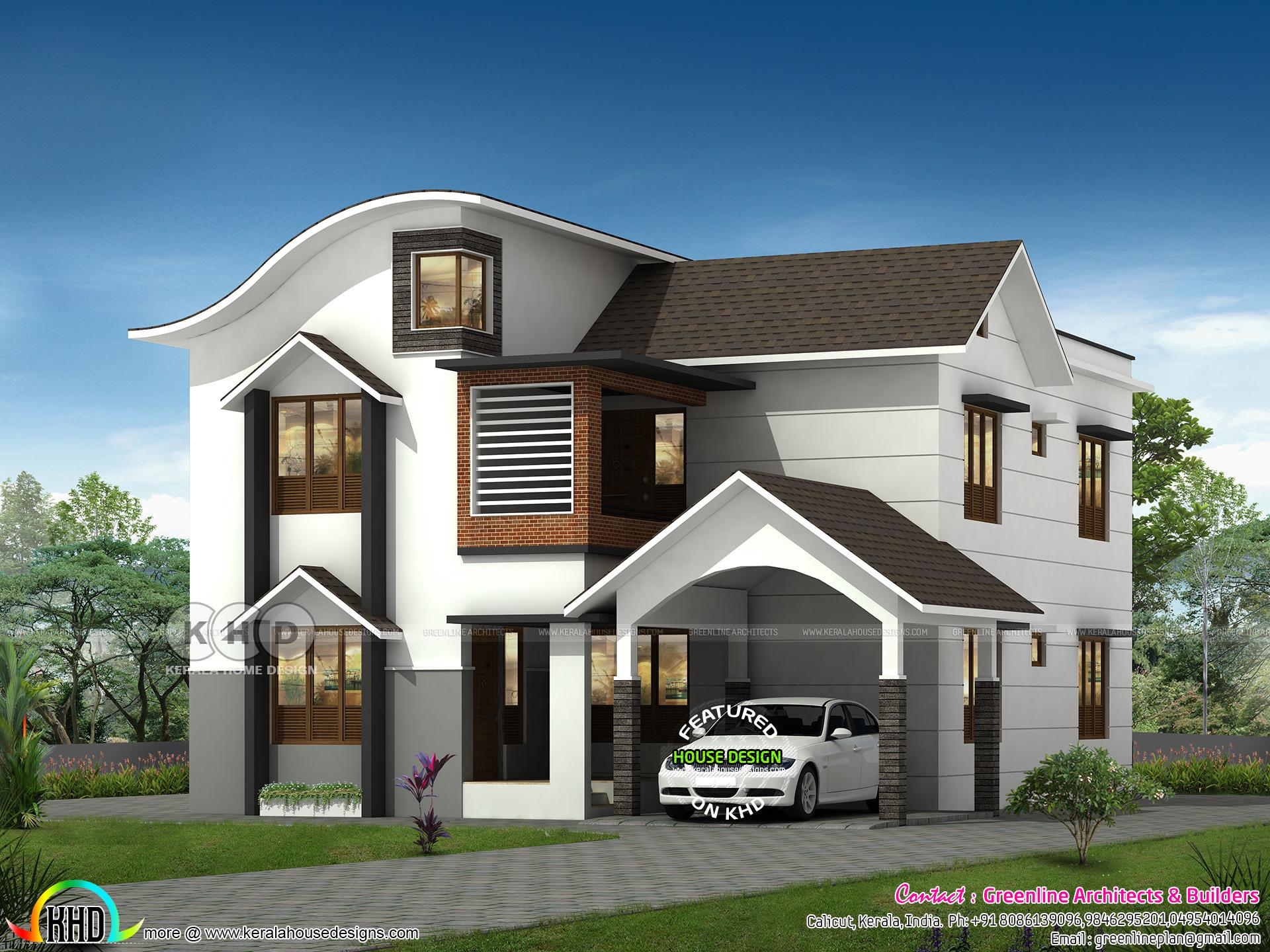 Beautiful 4 Bedroom Modern Mix Roof Home Design Kerala