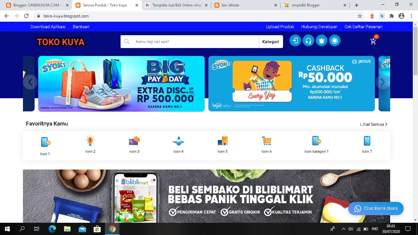 Template Ecoomerce Blogger Premium Khusus Jual Beli Online