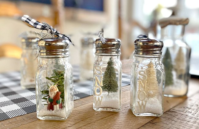 Recycled Jar Snow Globe Ornaments