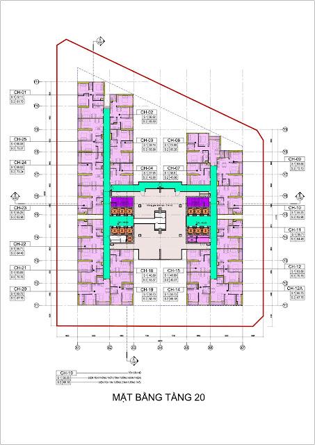 Mặt bằng tầng 20 Hoàng Huy Grand Tower Sở Dầu