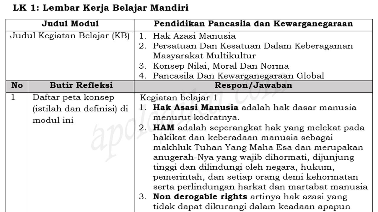 Contoh LK1 Modul PPKN