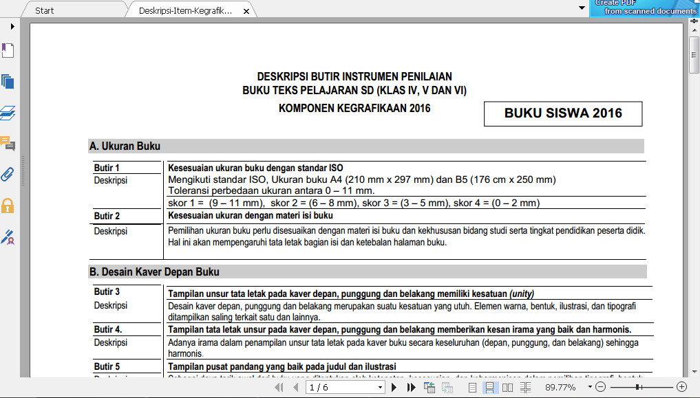 Download Deskripsi Butir Instrumen Penilaian Buku Teks Tingkat SD Kelas IV, V dan VI Komponen Kegrafikan Tahun 2016 Format PDF