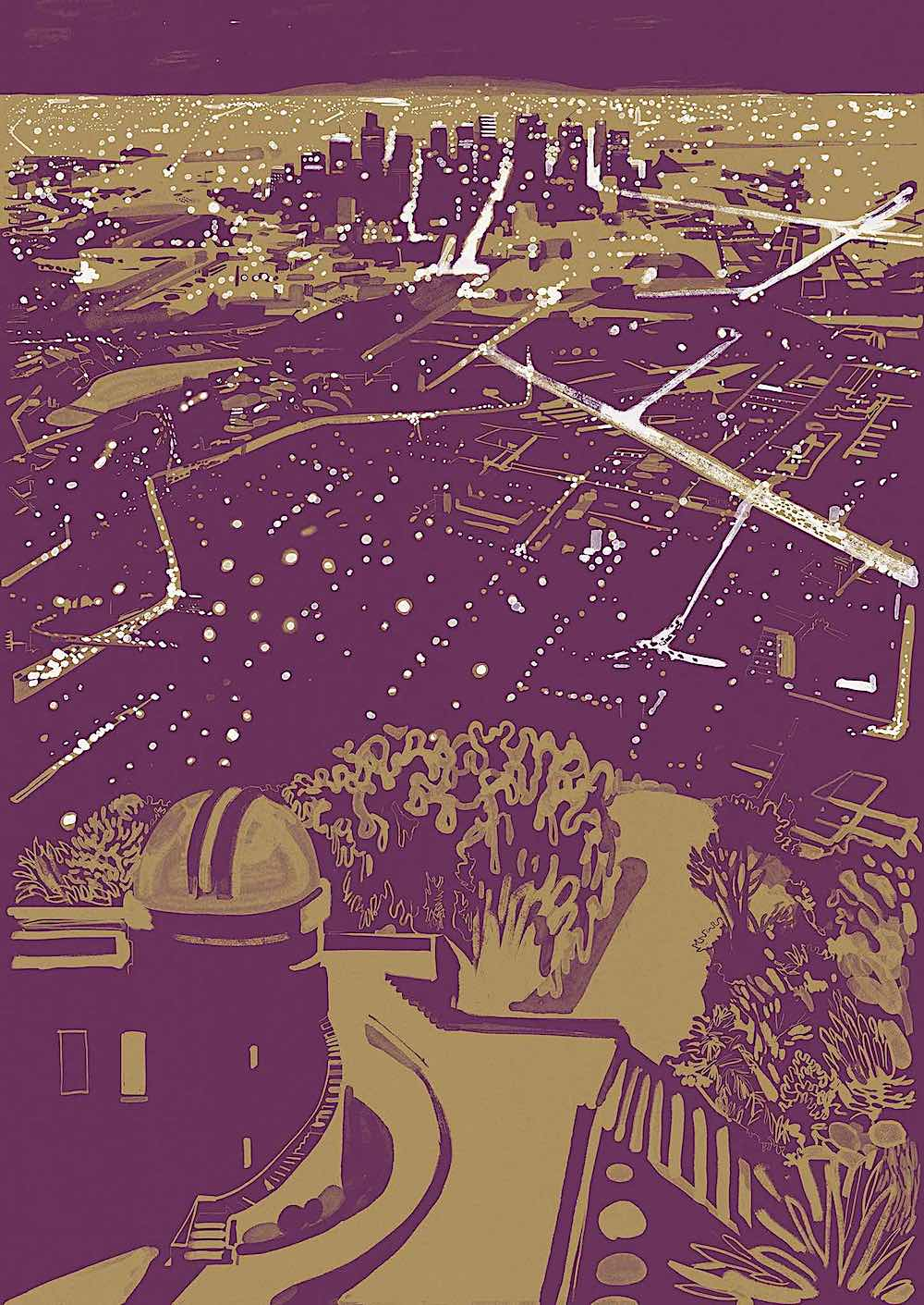 a Christoph Niemann art print of a purple city at night seen from an observatory on a hill