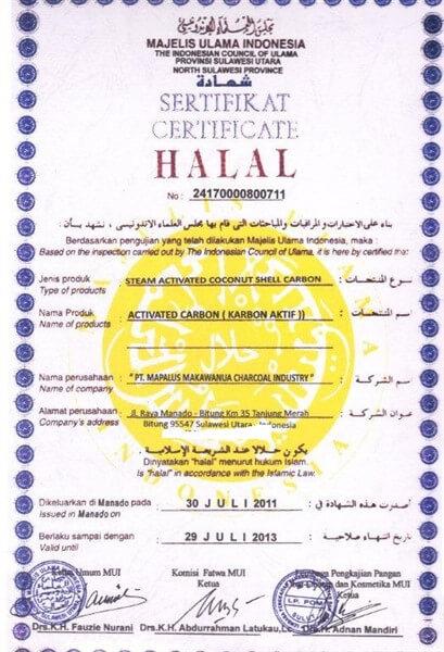 Halal Certificate Karbon Aktif Haycarb