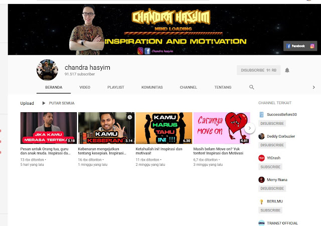Review Channel Youtube Motivasi Inspirasi: Chandra Hasyim
