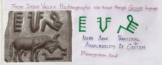 A Seal from Mohenjo-Daro interpreted using the Gondi language, on the basis of Dr.Motiravan Kangale's work.