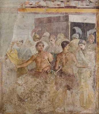La resa di Briseide ad Agamennone da parte di Achille. (Museo Archeologico Nazionale di Napoli)