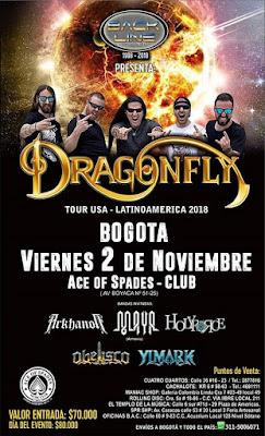 POSTER Concierto de DRAGONFLY en Bogotá 2018