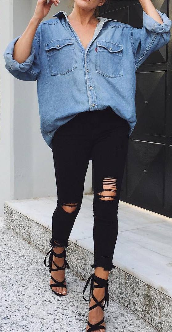 amazing street style outfit: denim shirt + rips + heels