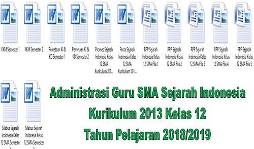 Administrasi Guru SMA Sejarah Indonesia Kurikulum 2013 Kelas 12 Tahun Pelajaran 2018/2019