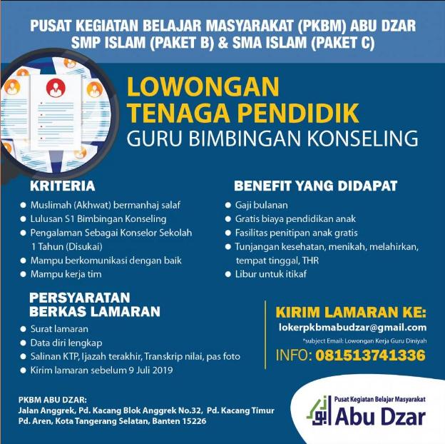 Lowongan Tenaga Pendidik Guru Bimbingan Konseling Yayasan Abu Dzar Tangerang Info Loker Serang