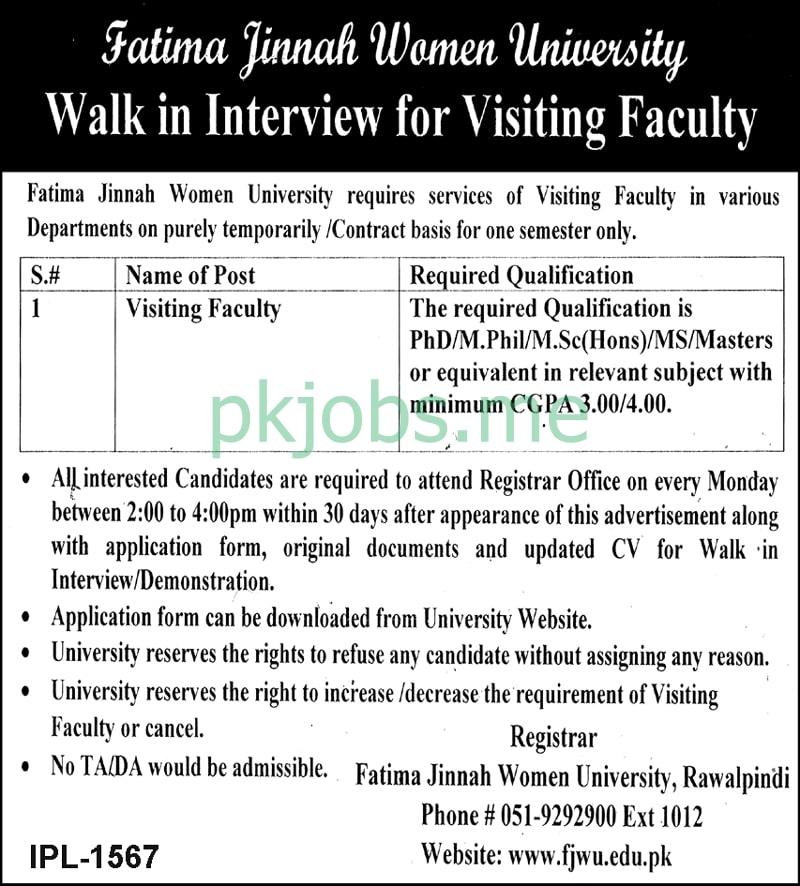 Latest Fatima Jinnah Women University Posts 2021