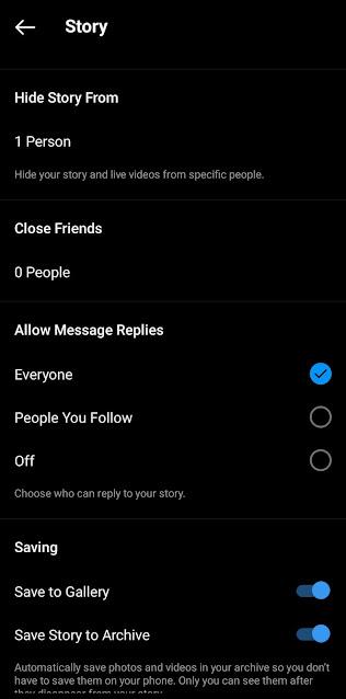 Hide Instagram stories from people