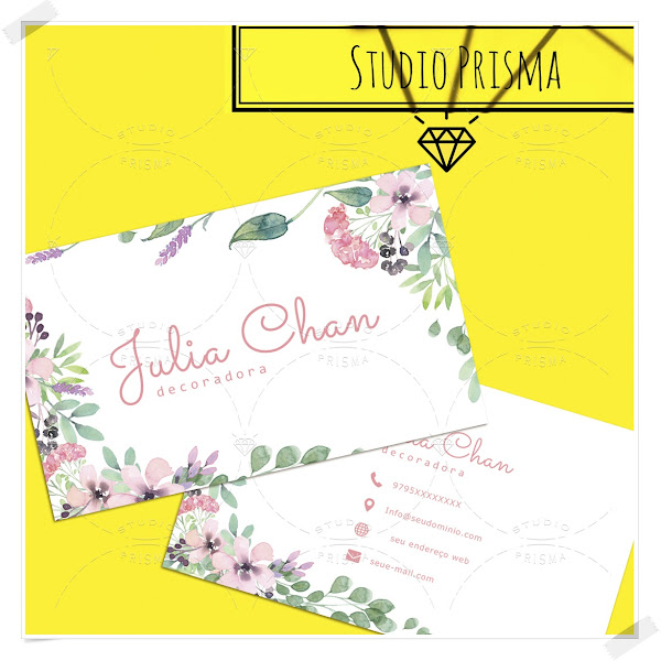 Cartão de Visita Floral Aquarela para imprimir