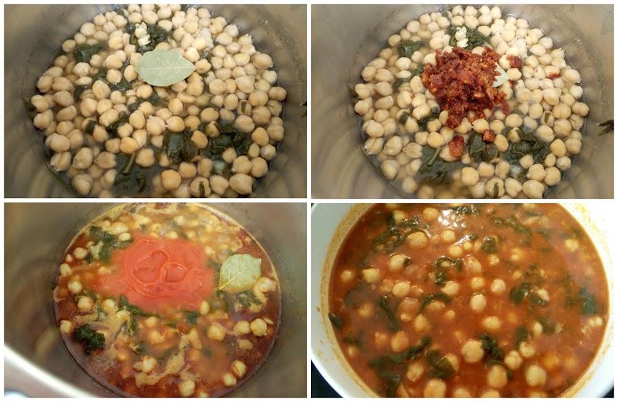 Añadir laurel, majado y tomate