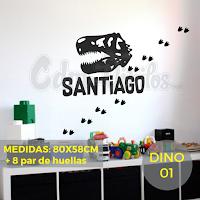 vinilo decorativo infantil dinosaurio t-rex huellas nombre personalizado decoracion habitacion niño