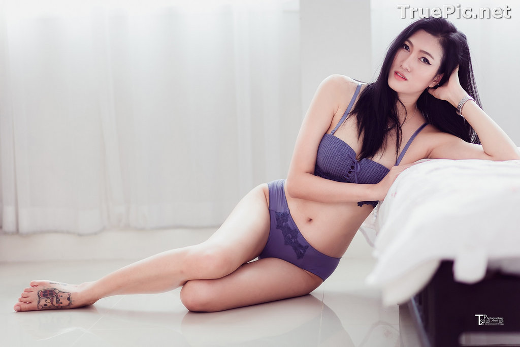 Image Thailand Model - Sawinee Boonbunlu - Sexy Blue Purple Lingerie - TruePic.net - Picture-1
